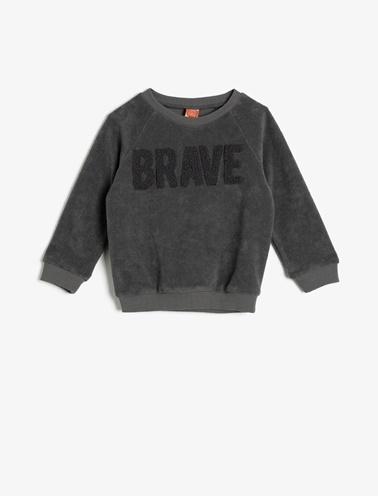 Koton Kids İşlemeli Sweatshirt Gri
